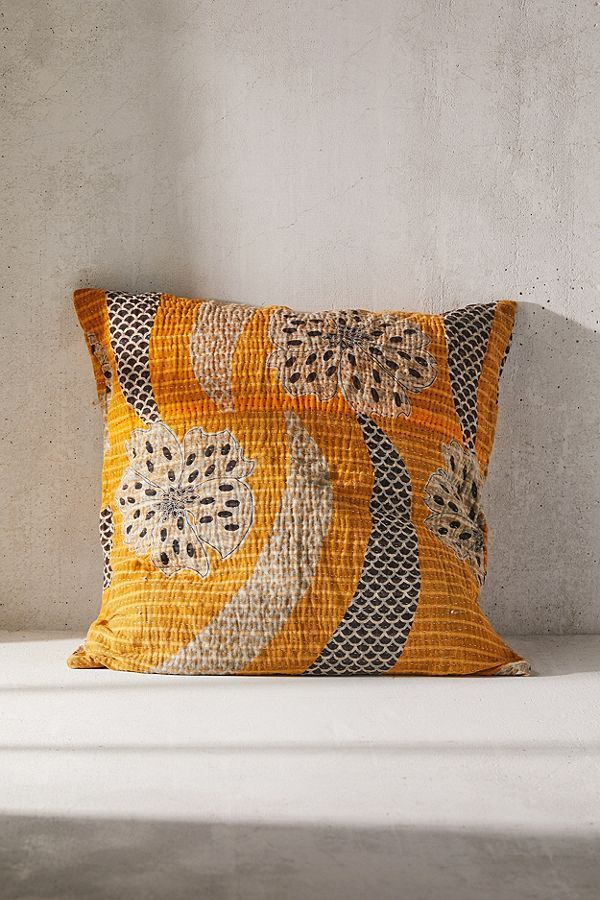 One-Of-A-Kind Bleached Out Kantha Throw Pillow