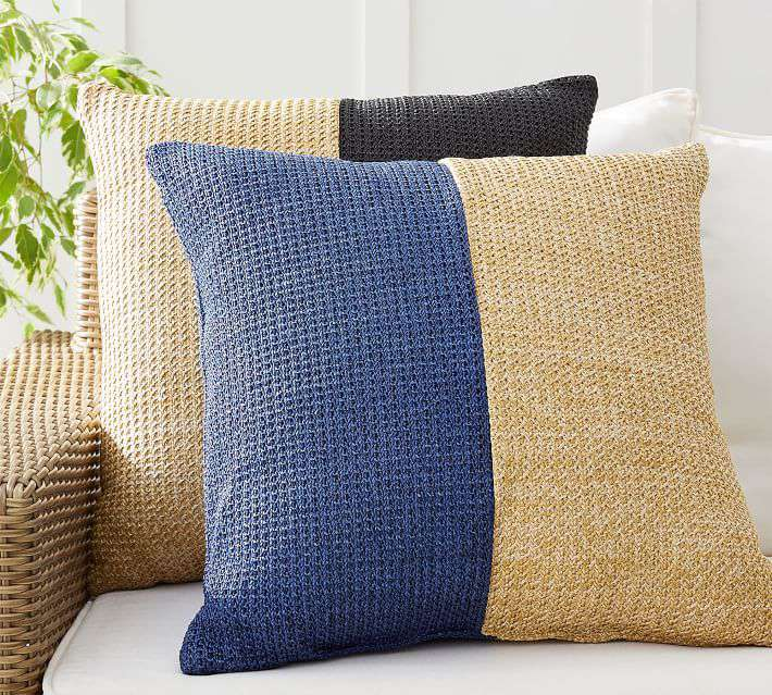 Pottery Barn Faux Natural Fiber Pieced Indoor/Outdoor Pillow