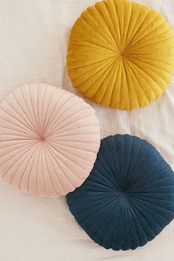 Shelly Round Velvet Pillow - Blue One Size at Urban Outfitters