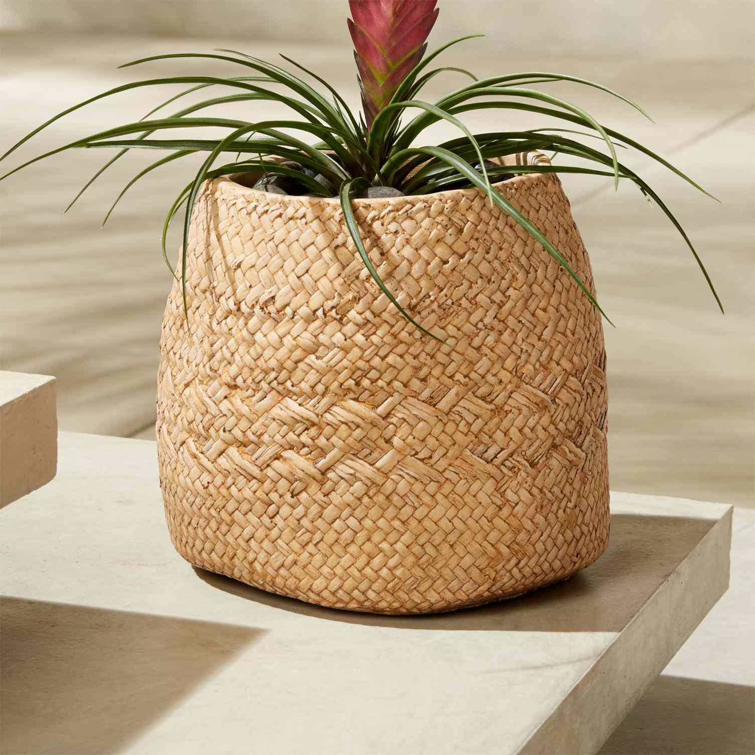 A cement planter made to look like a woven rattan basket.