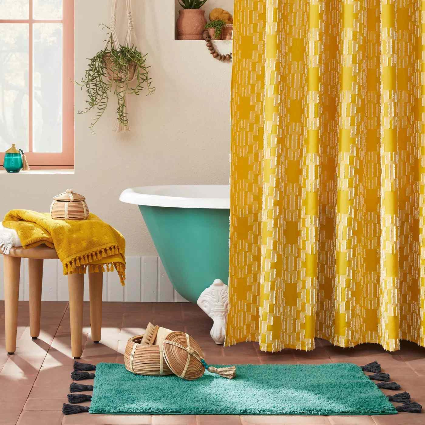Yellow Geo Shower Curtain in boho bathroom.