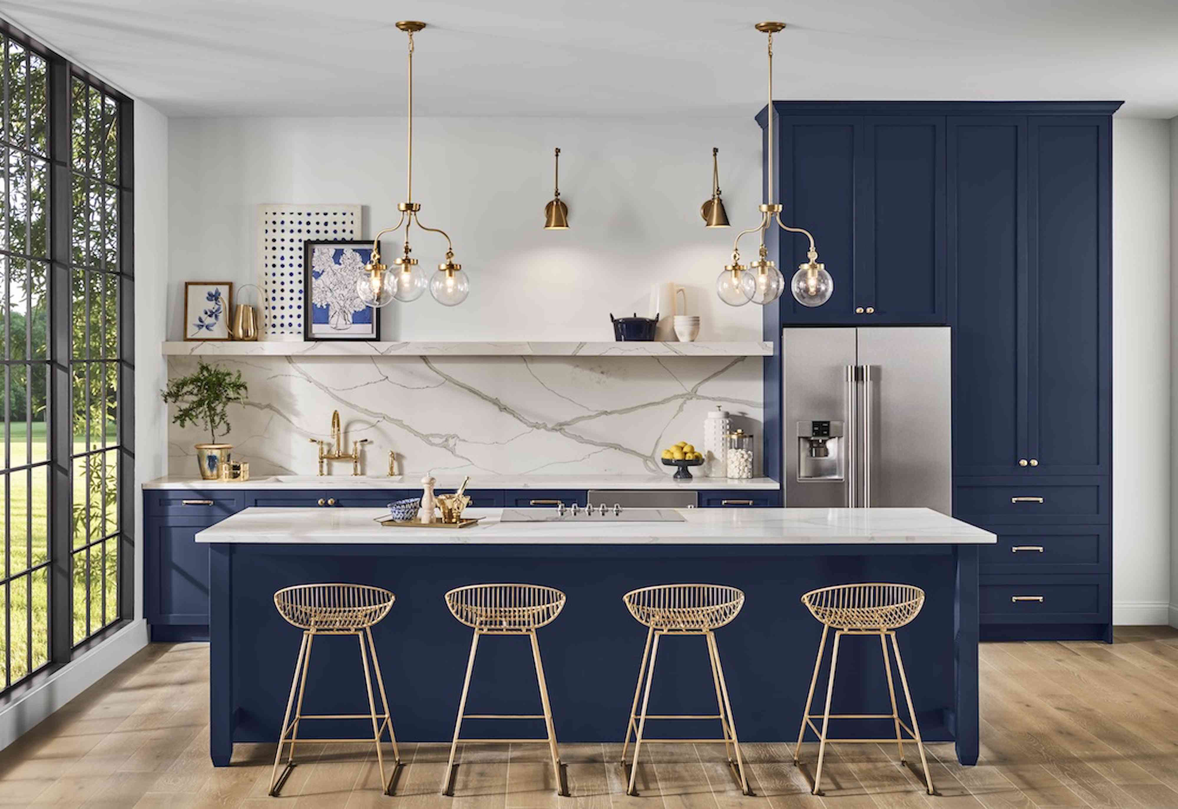 kitchen with navy cabinets