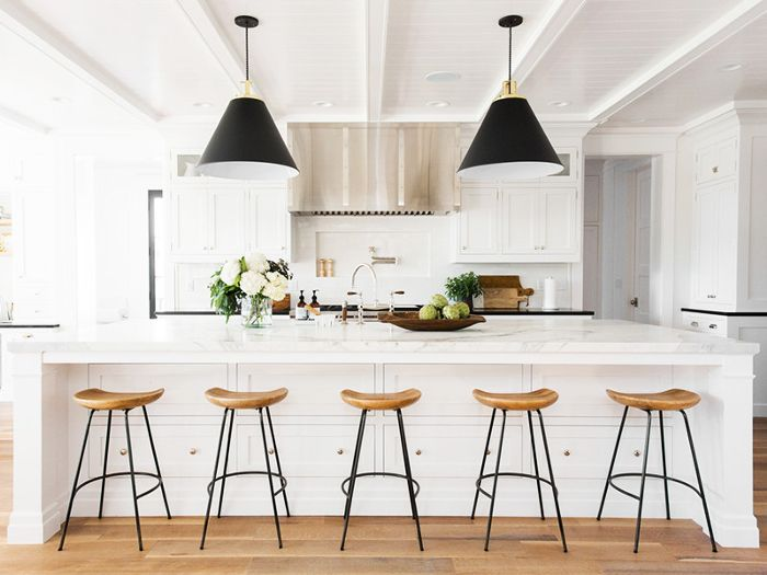 Open kitchen with five barstools
