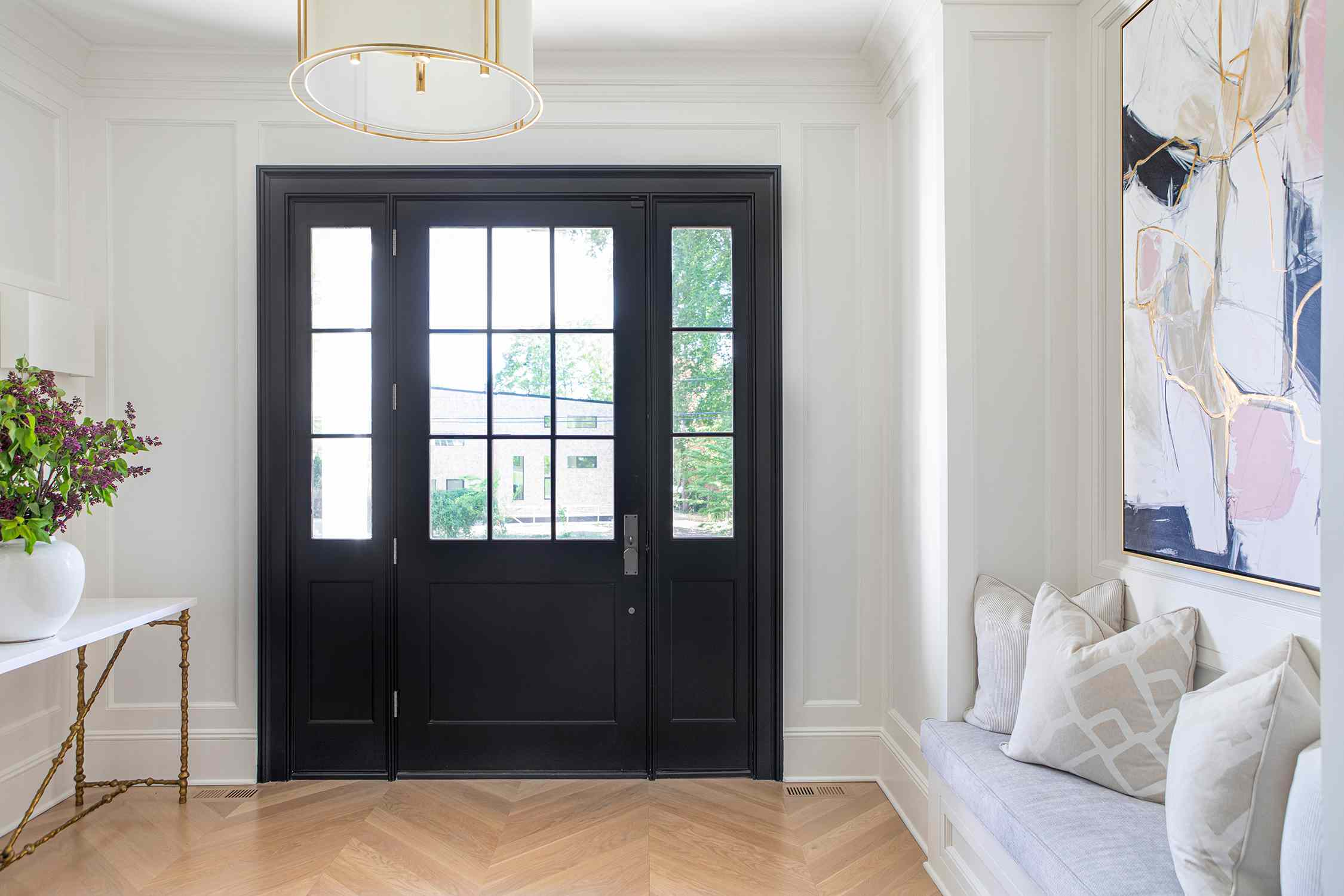 new jersey home tour - entryway with windowseat