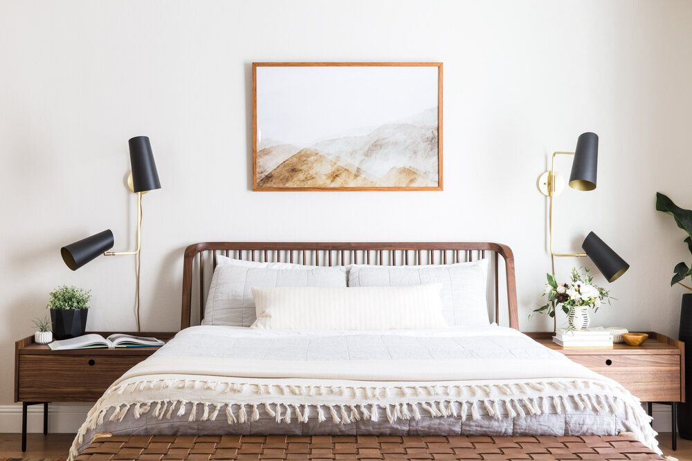 minimalist bedroom with bedside tables