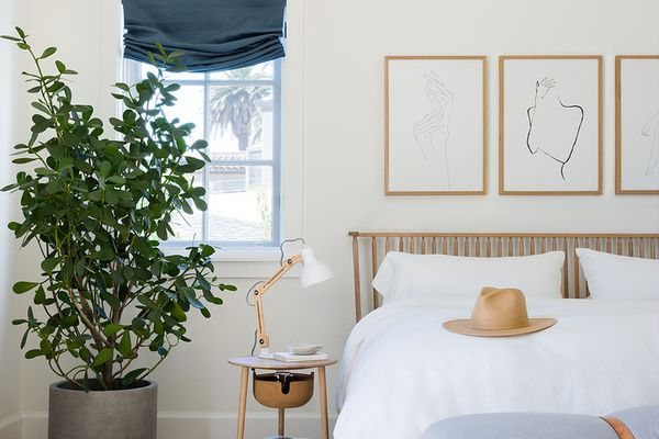 Calm and soothing bedroom with touches of boho