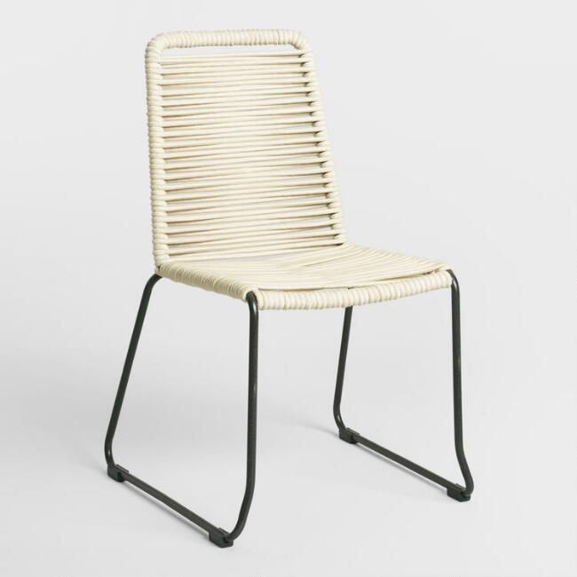 Ivory Nautical Rope Reeves Dining Chair, Set of 2