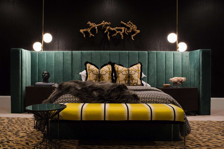Black walled bedroom