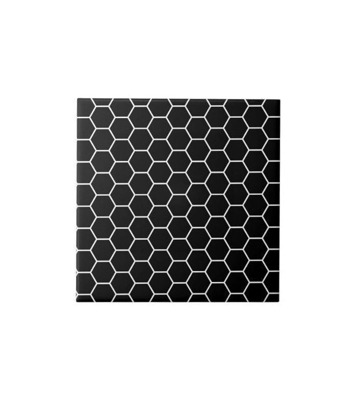 Azulejo geométrico blanco y negro de Zazzle