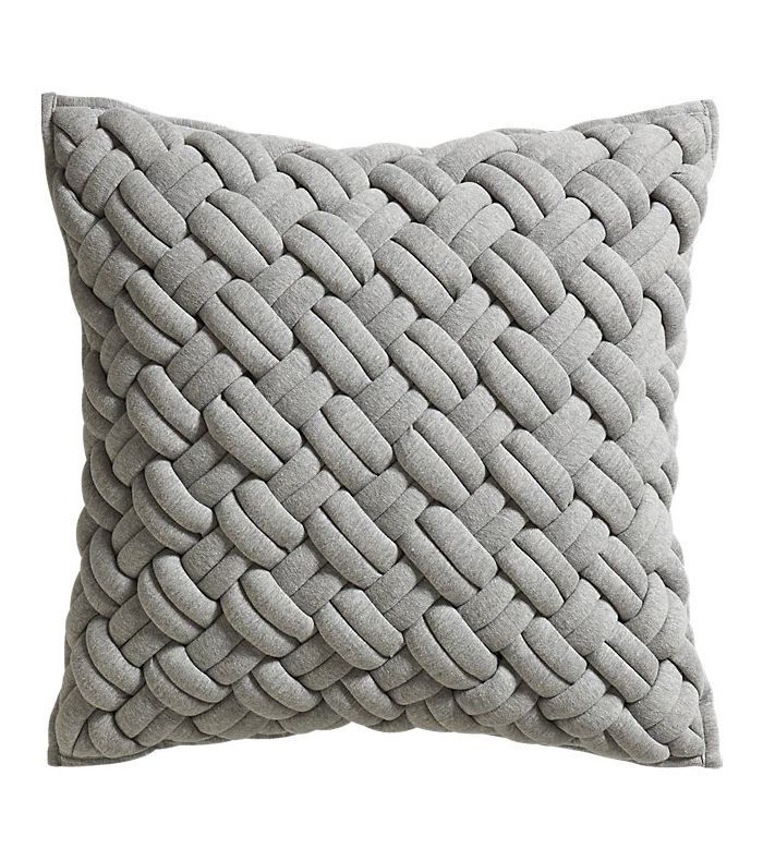 CB2 jersey interknit grey pillow with down-alternative insert