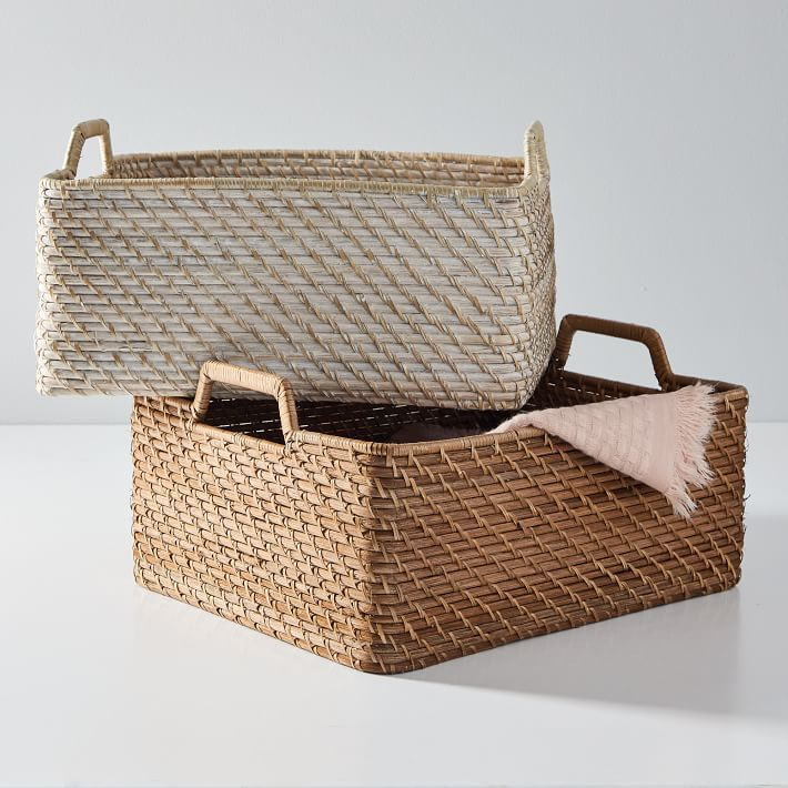 Two woven baskets stacked on top of each other