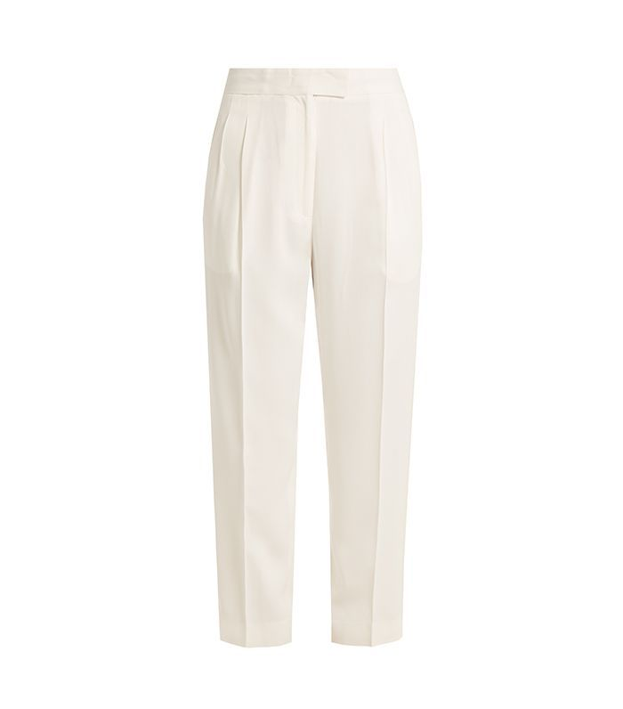 Esther high-rise straight-leg crepe trousers