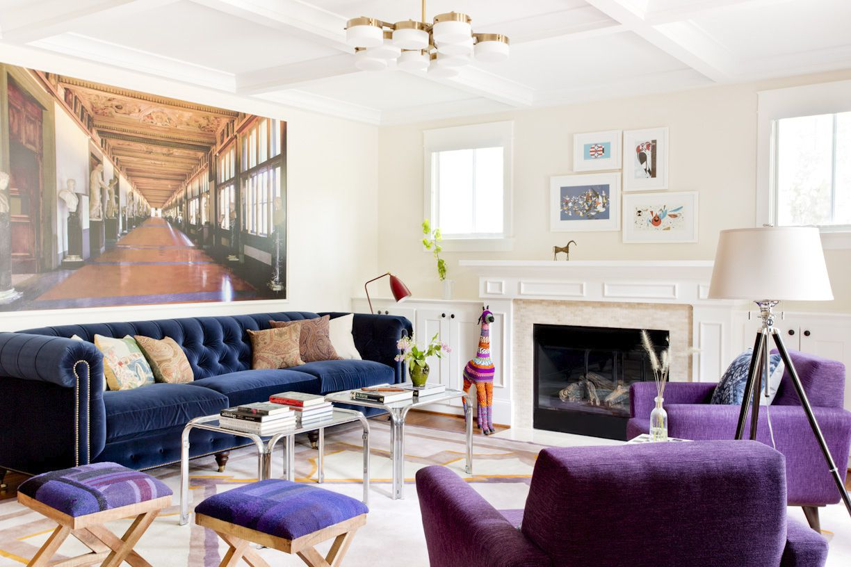 maximalist living room with purple and blue tones