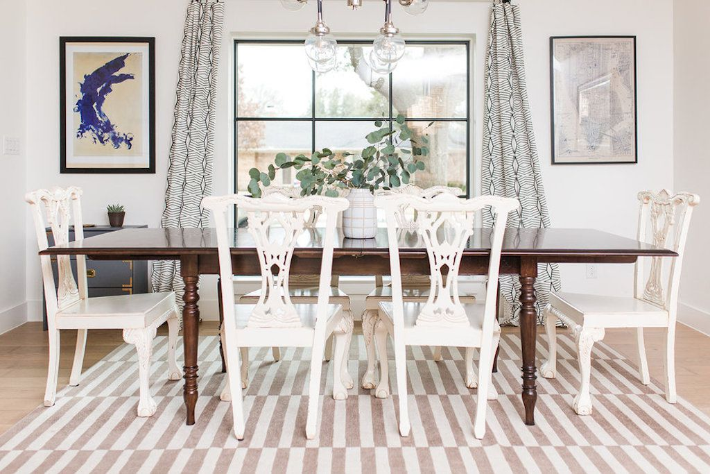 white bright dining room