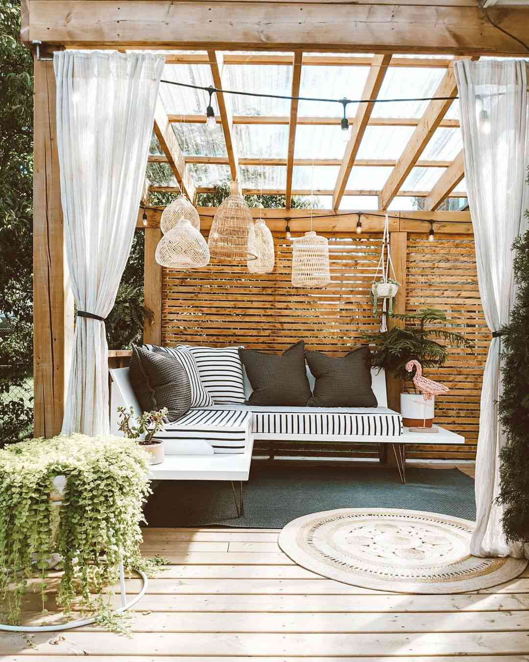 Outdoor patio with boho lanterns