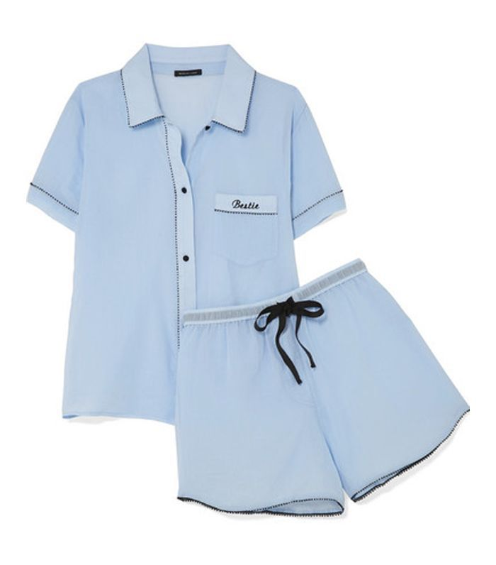 Bestie Embroidered Cotton-gauze Pajama Set