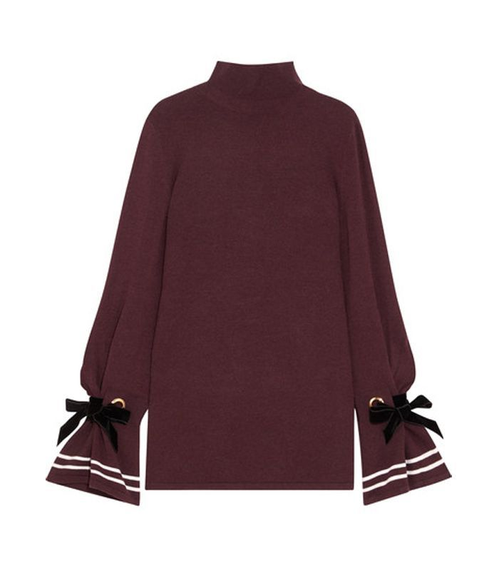 Axel Bow-embellished Stretch-knit Turtleneck Sweater