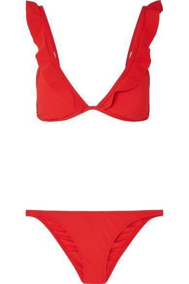 Flounce Ruffled Triangle Bikini