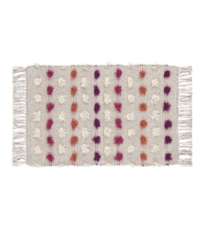Target Tan Striped With Poms Woven Fringed Accent Rug