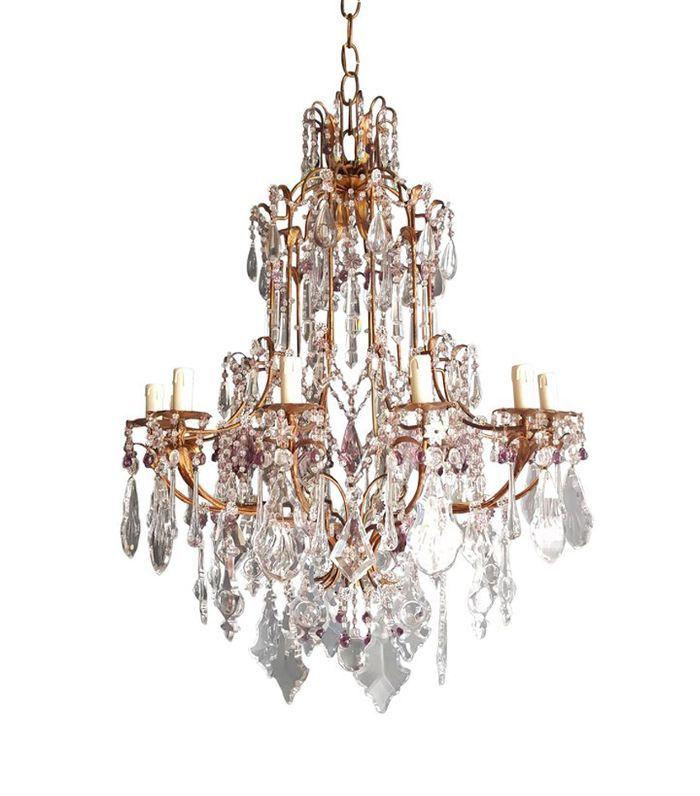1stDibs Crystal Chandelier Antique Ceiling Lamp Murano Florentiner Lustre Art Nouveau