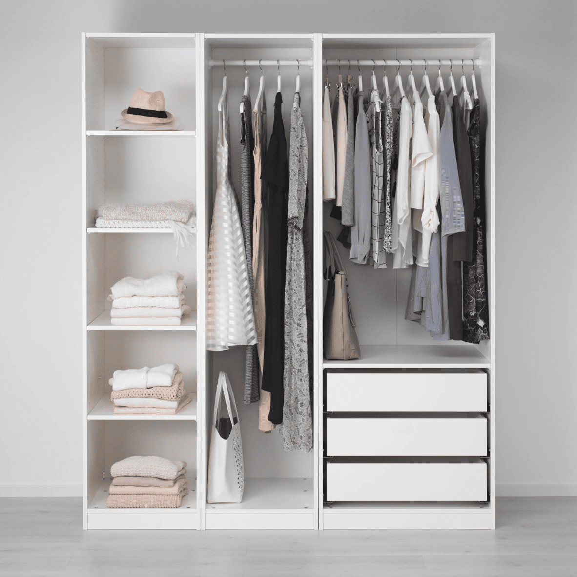 A large white wardrobe, which is currently for sale at IKEA