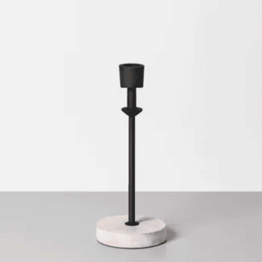 Wood and metal single candle holder
