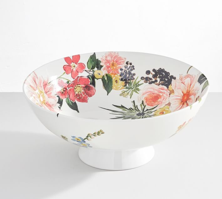 Floral Rim Stoneware Footed Serving Bowl