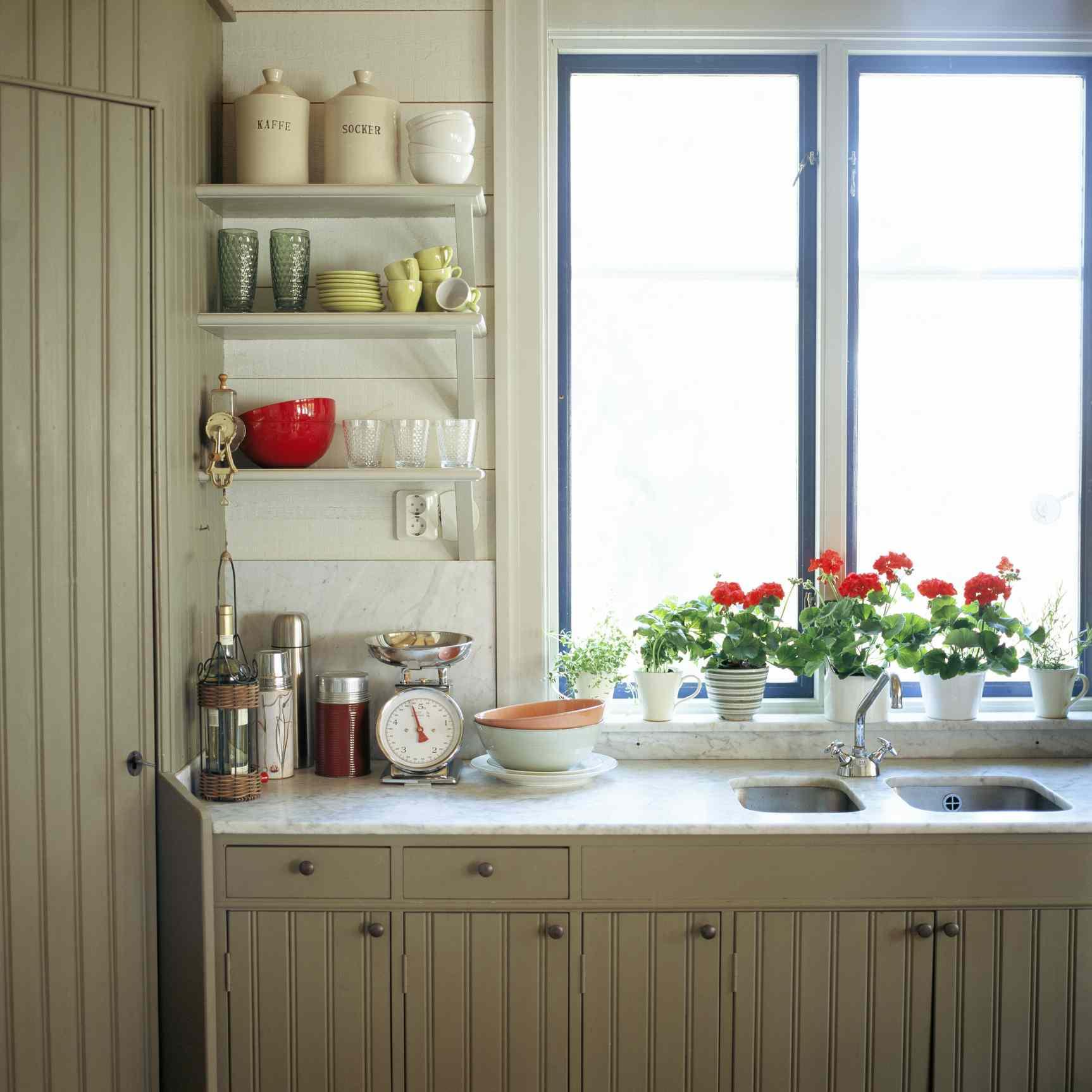 red geranium plants in front of kitchen windowsill