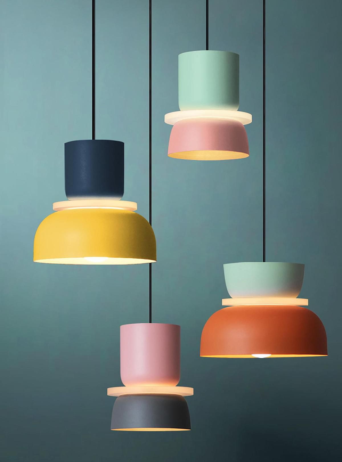Colorful pendant lights, currently for sale at Etsy