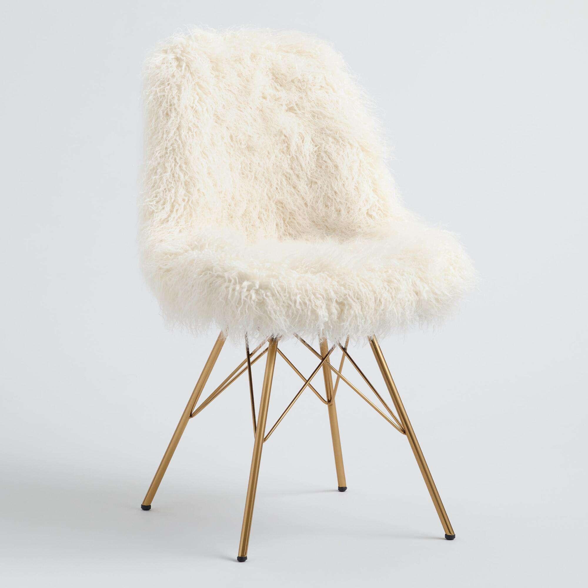 World Market Ivory Faux Flokati Cypress Chair