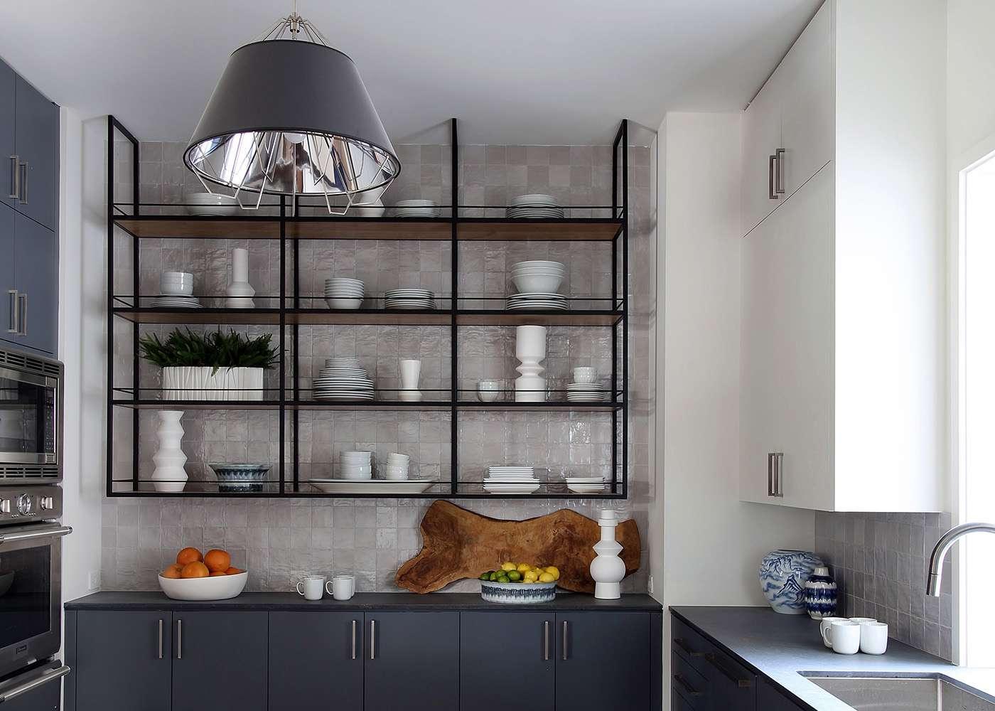 Slate blue bachelor kitchen