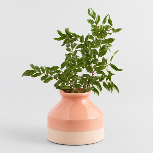 Burnt Coral Two Tone Ceramic Vase—Cheap room decor