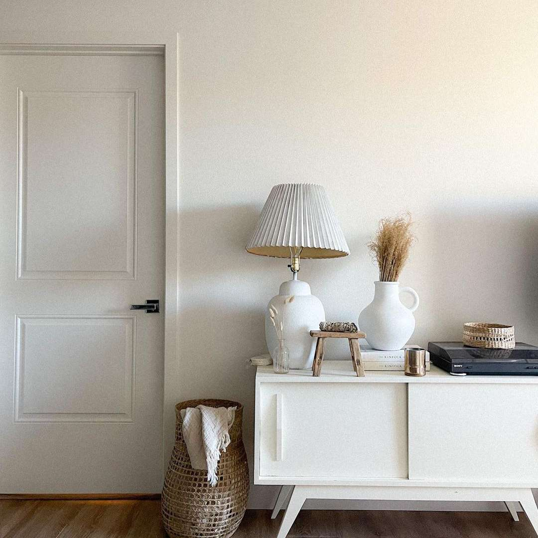 White entryway with console