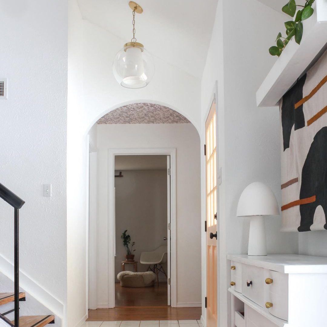 White, modern entryway