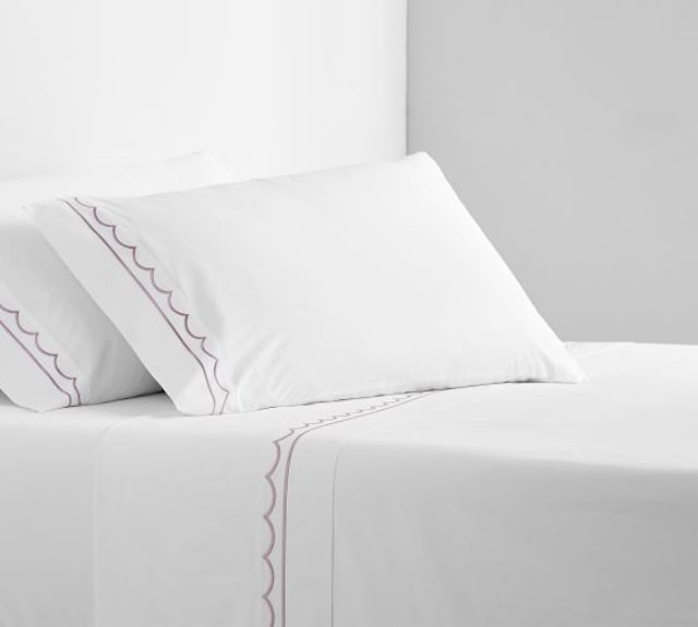 Scallop Embroidered Organic Percale Sheet Set
