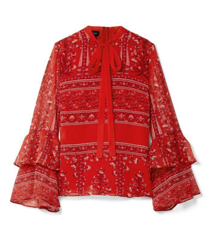 Blusa de georgette de seda estampada con lazo