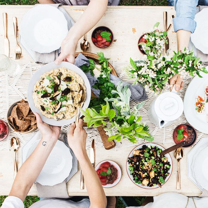 a holiday table laden with food