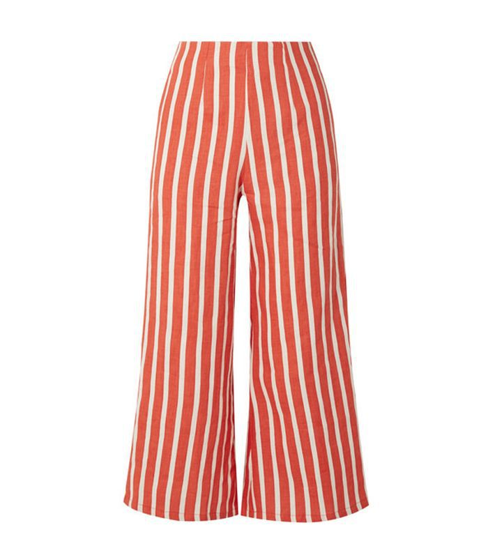 Tomas Cropped Striped Linen Wide-leg Pants