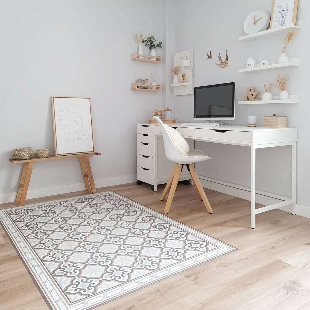 Neutral dorm room with IKEA desk.