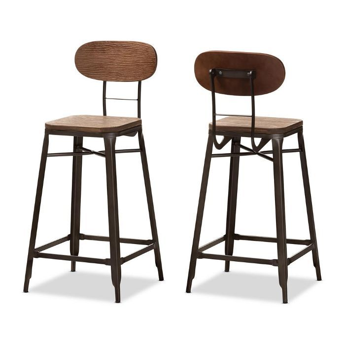 Baxton Studio Varek Oak Brown and Rust Bar Stool, Set of 2