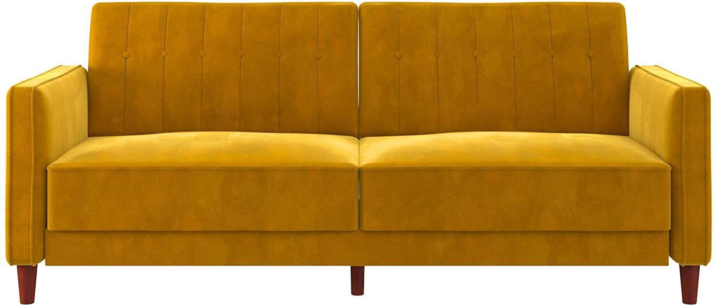 Mustard velveet couch.