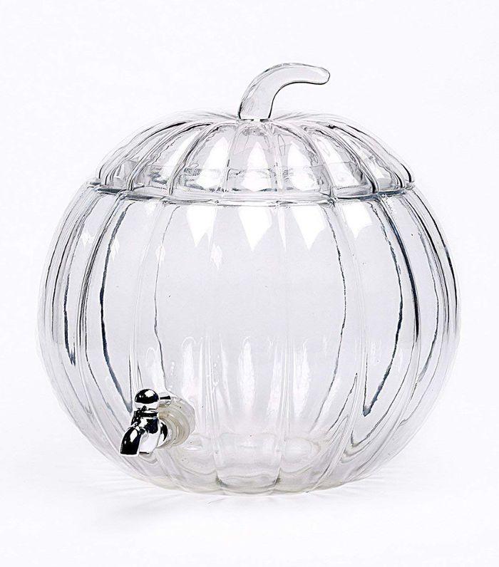 Pumpkin Clear Glass Beverage Dispenser Amazon Thanksgiving Decor