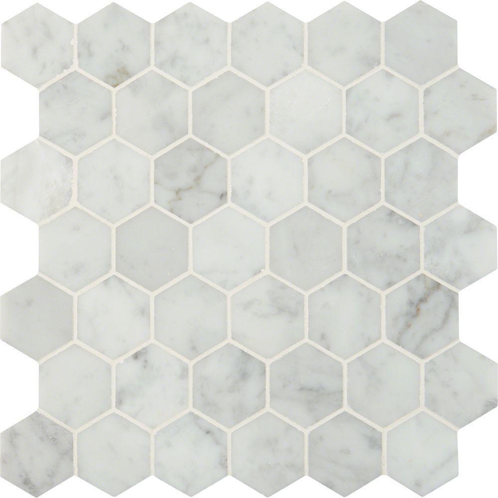 Carrara White Hexagon—Bathroom Floor Tile Ideas