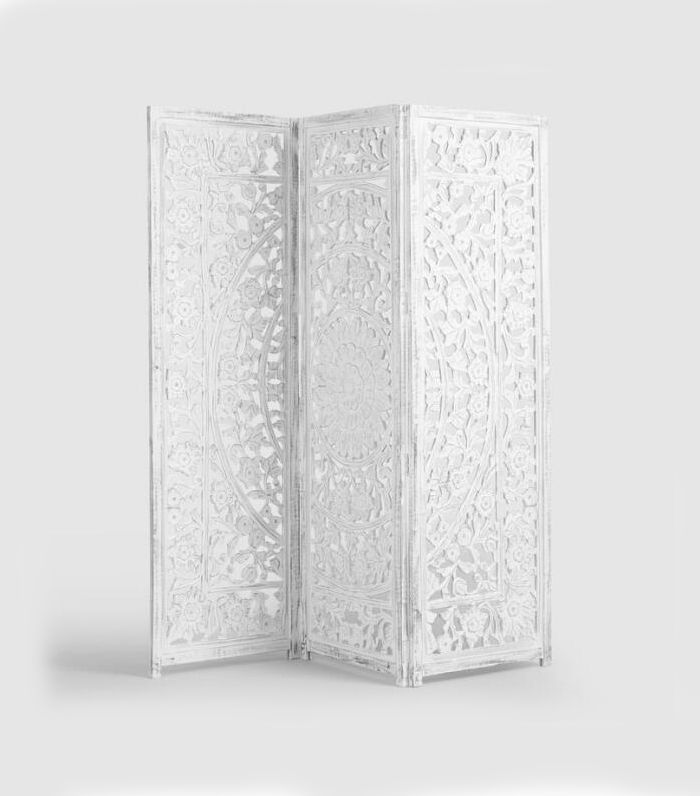White Hand Carved Wood Screen by World Market