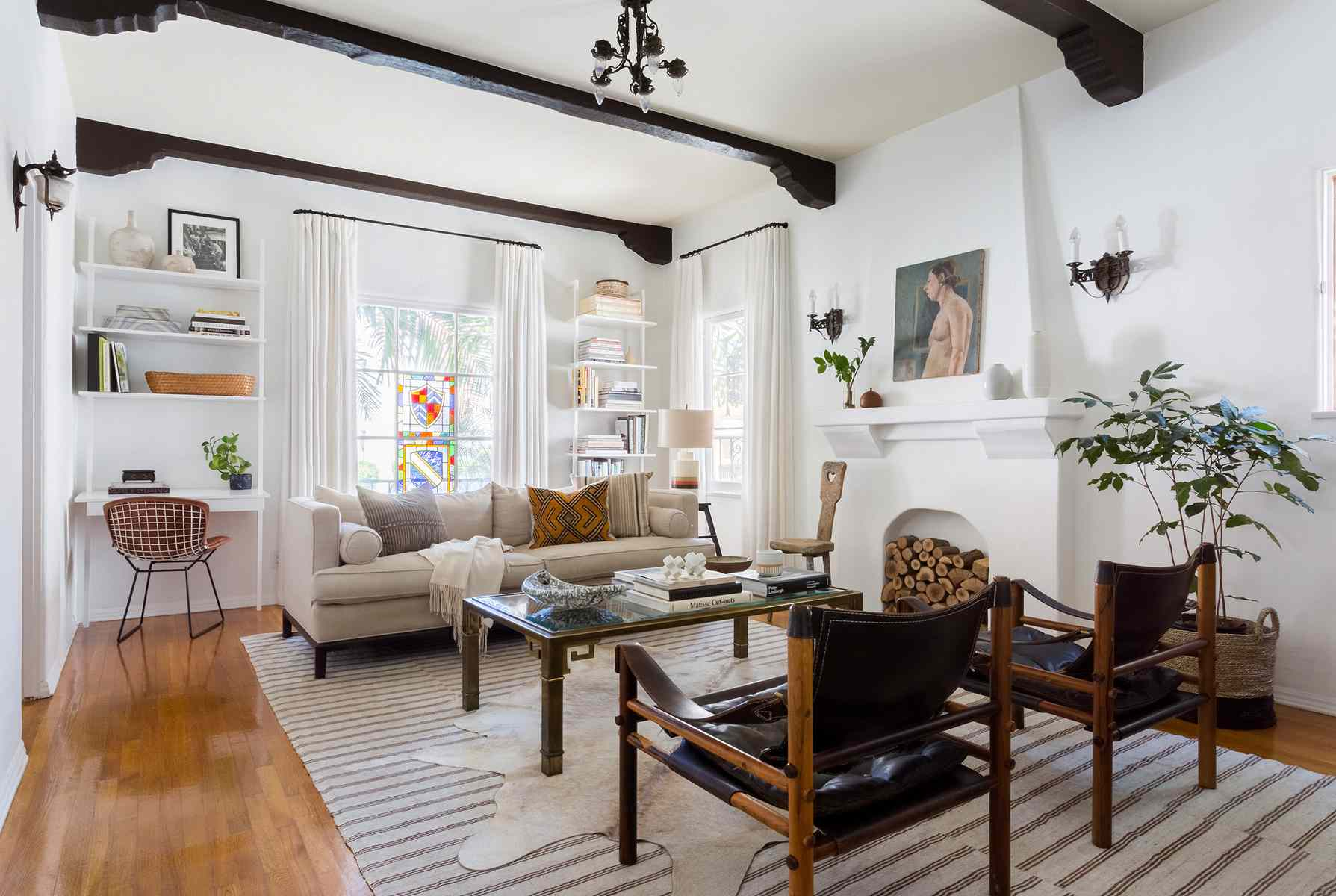 Eclectic living room with new and vintage pieces