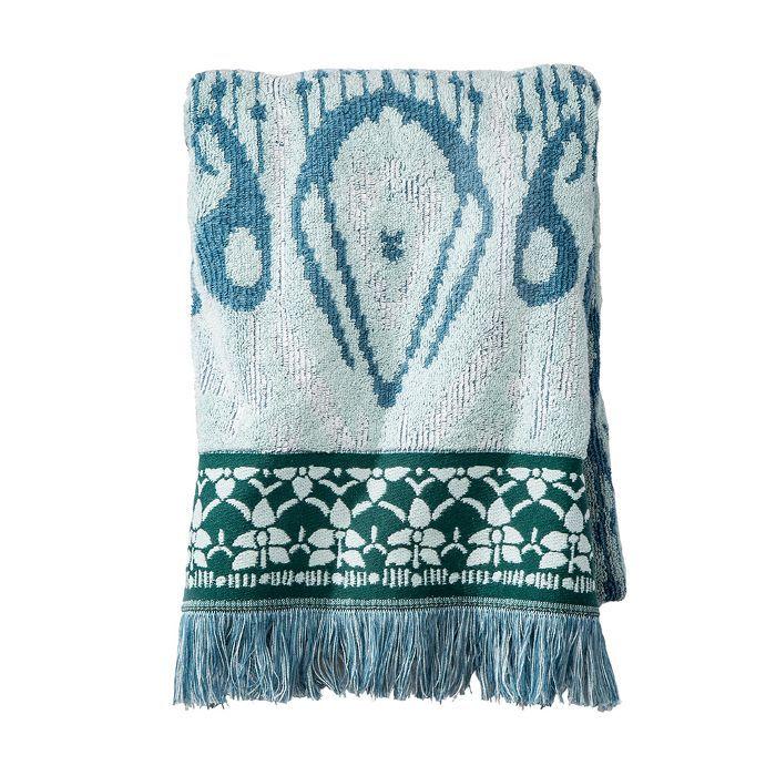 Target Ikat Border Fringed Bath Towel Teal Blue