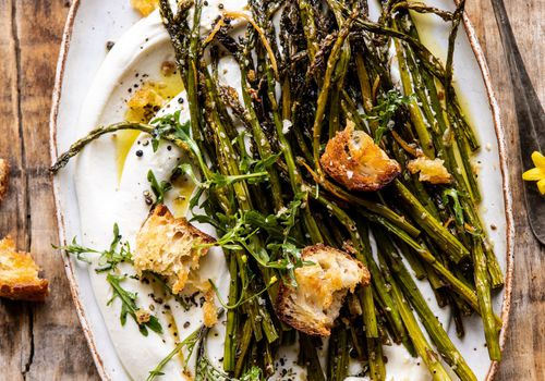 Sesame Roasted Asparagus With Whipped Feta