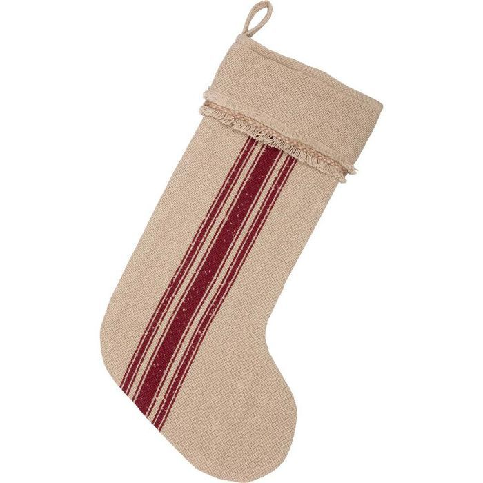 VHC Brands Cotton Red Vintage Burlap Stripe Farmhouse Stocking Will Taylor