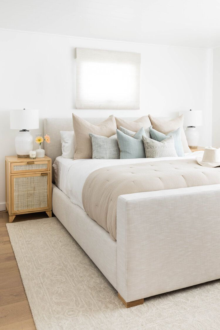 Neutral bedroom with linen bedding.