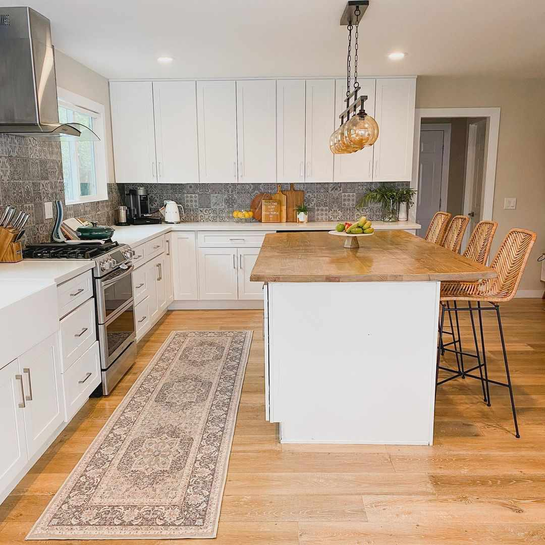 Gray patterned backsplash in kitchen